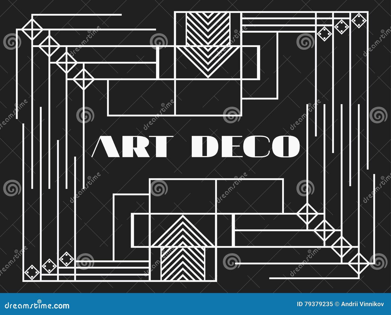 Trame Dart Déco Cadre Géométrique De Vintage Dart Déco Rétro Fond