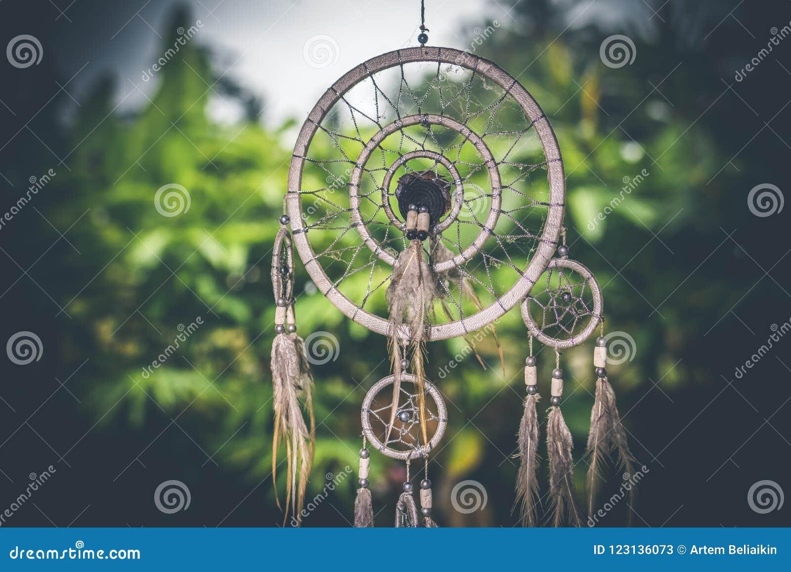 Tramonto di Dreamcatcher, eleganza di boho, amuleto etnico, simbolo, fondo tropicale