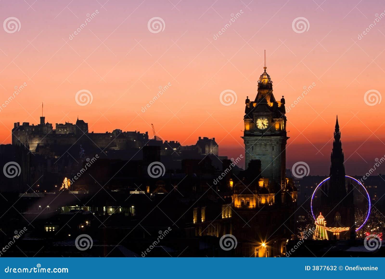 Tramonto di natale di Edinburgh
