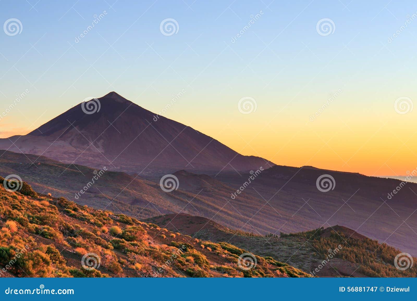 Tramonto sopra il vulcano di Teide, Tenerife
