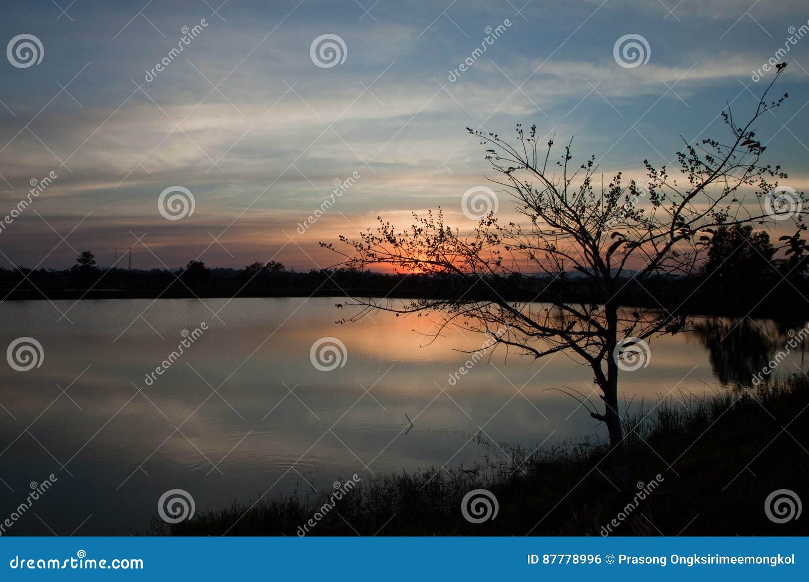 Tramonto sulla vista del fiume