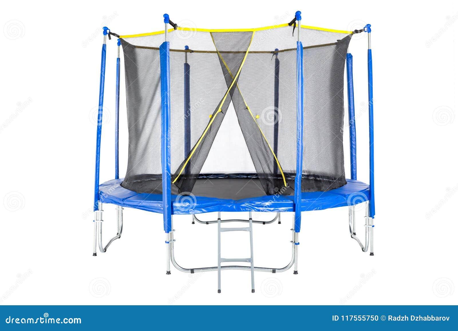 Trampolin för barn och vuxna människor för den roliga inomhus eller utomhus- konditionbanhoppningen på vit bakgrund Isolerad blå