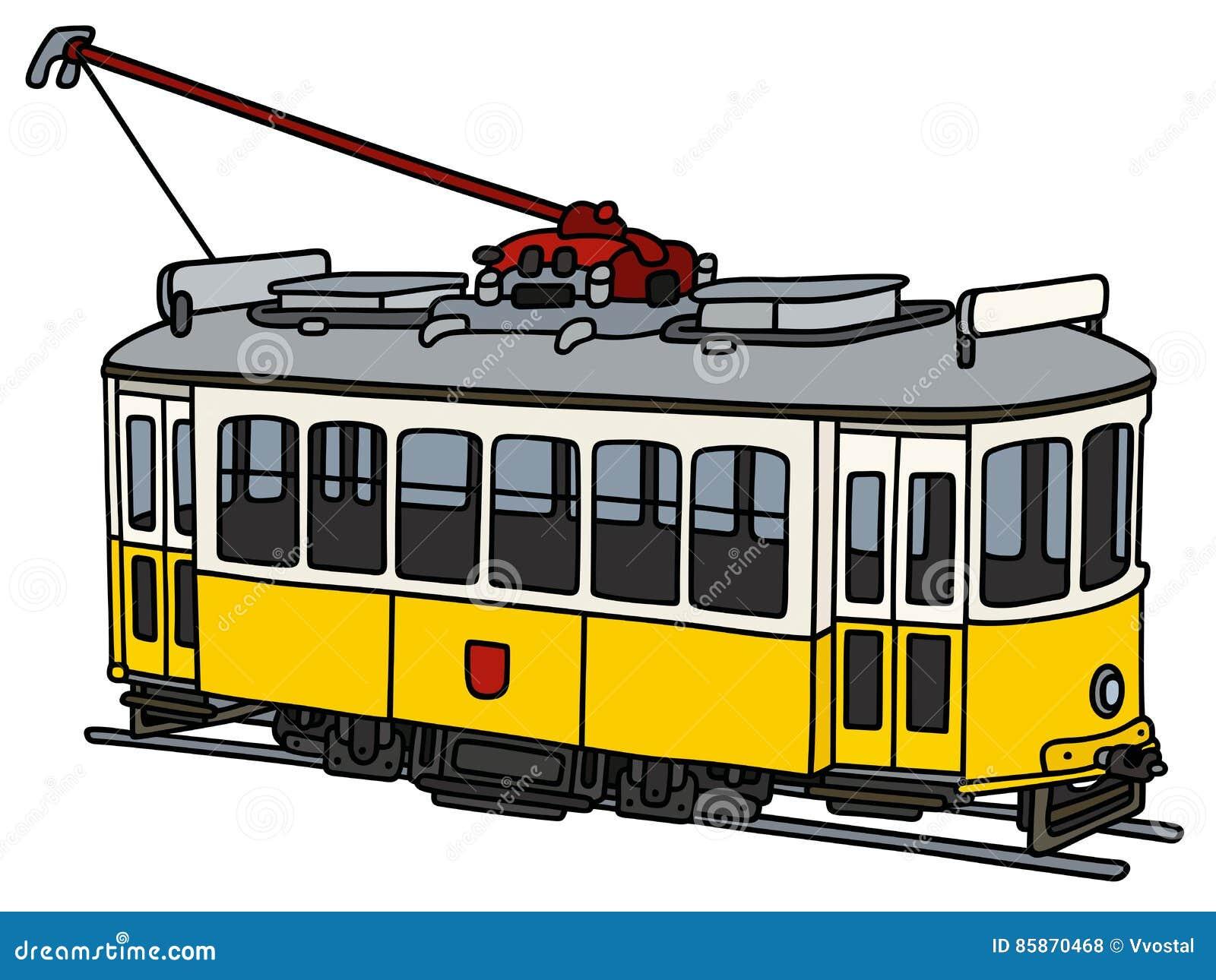 Tramway Jaune De Vintage Illustration De Vecteur