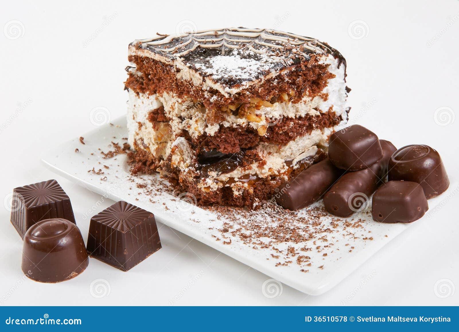 Tranche de gâteau de chocolat