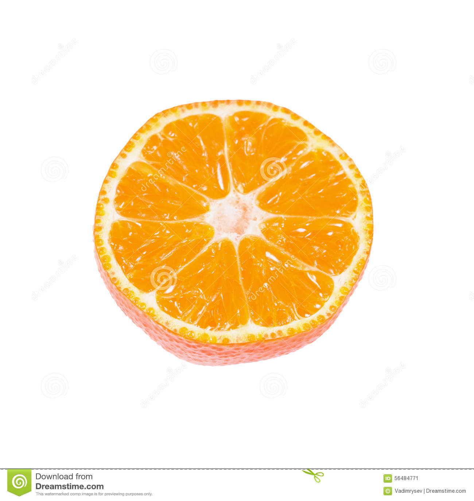 Tranche de mandarine mûre d isolement sur le blanc