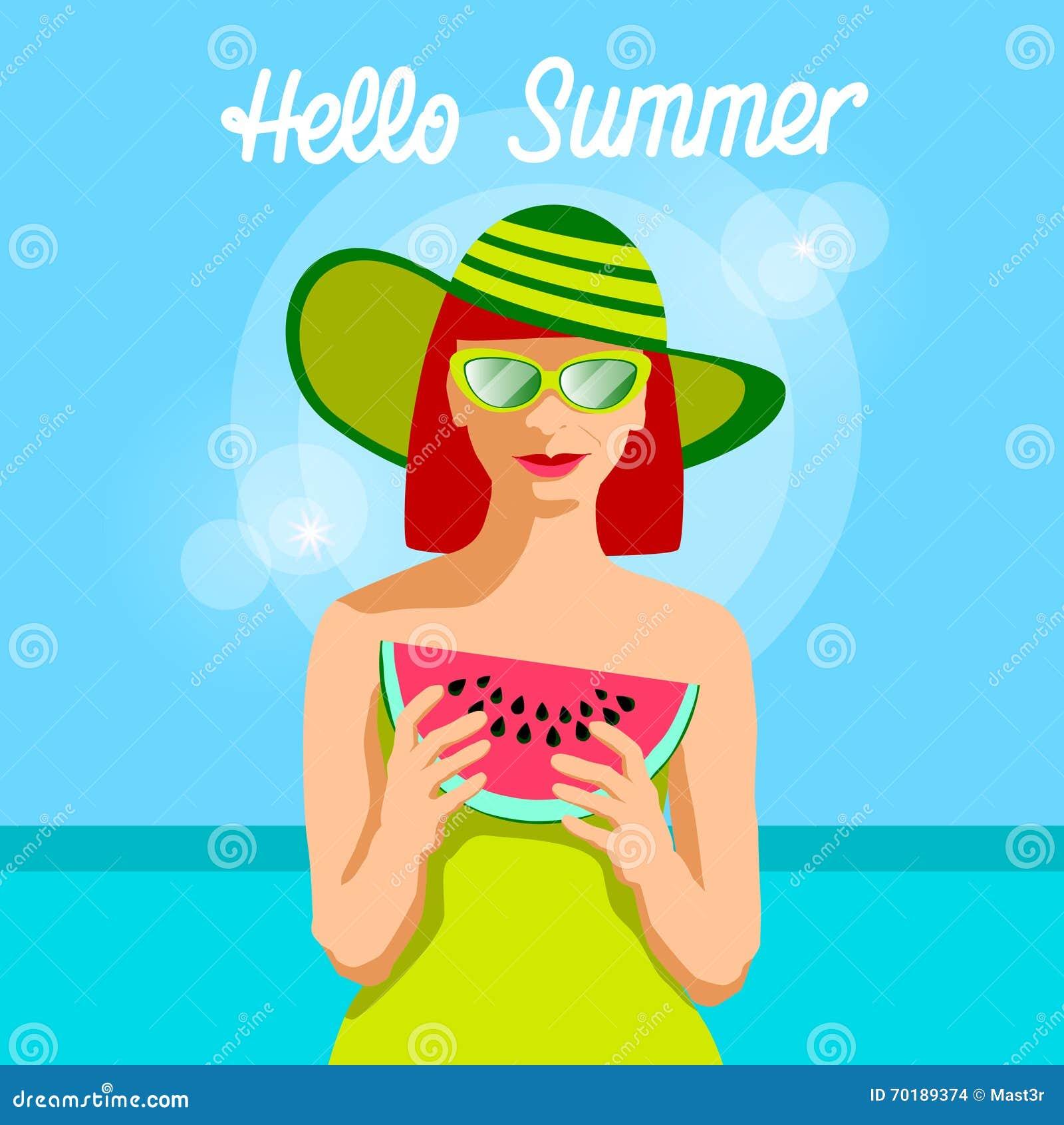 Tranche de pastèque de prise de femme au-dessus de bannière d été de fond de mer bonjour