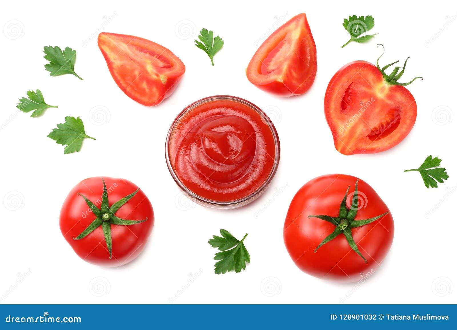 Tranche de tomate avec le persil et le bol en verre de ketchup d isolement sur le fond blanc Vue supérieure