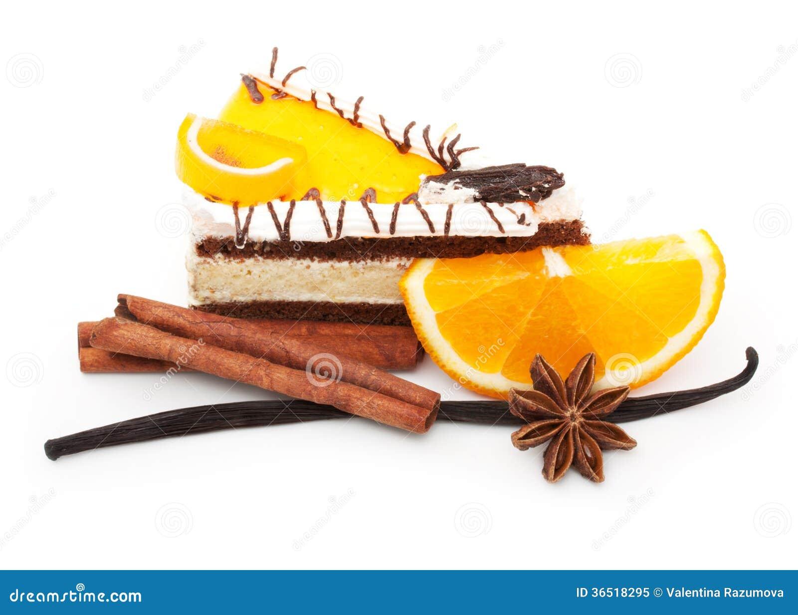 Tranche et épices oranges de fruit