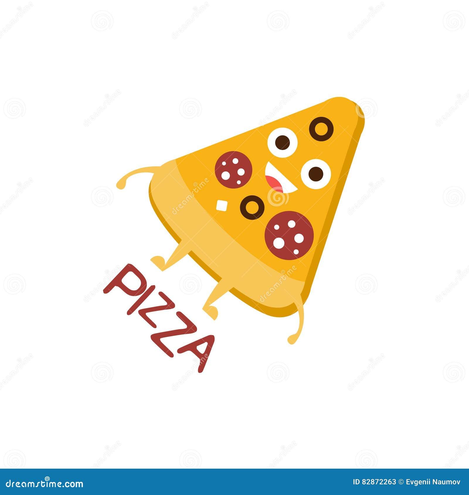 tranche word de pizza et illustration correspondante personnage de dessin anim emoji avec des yeux