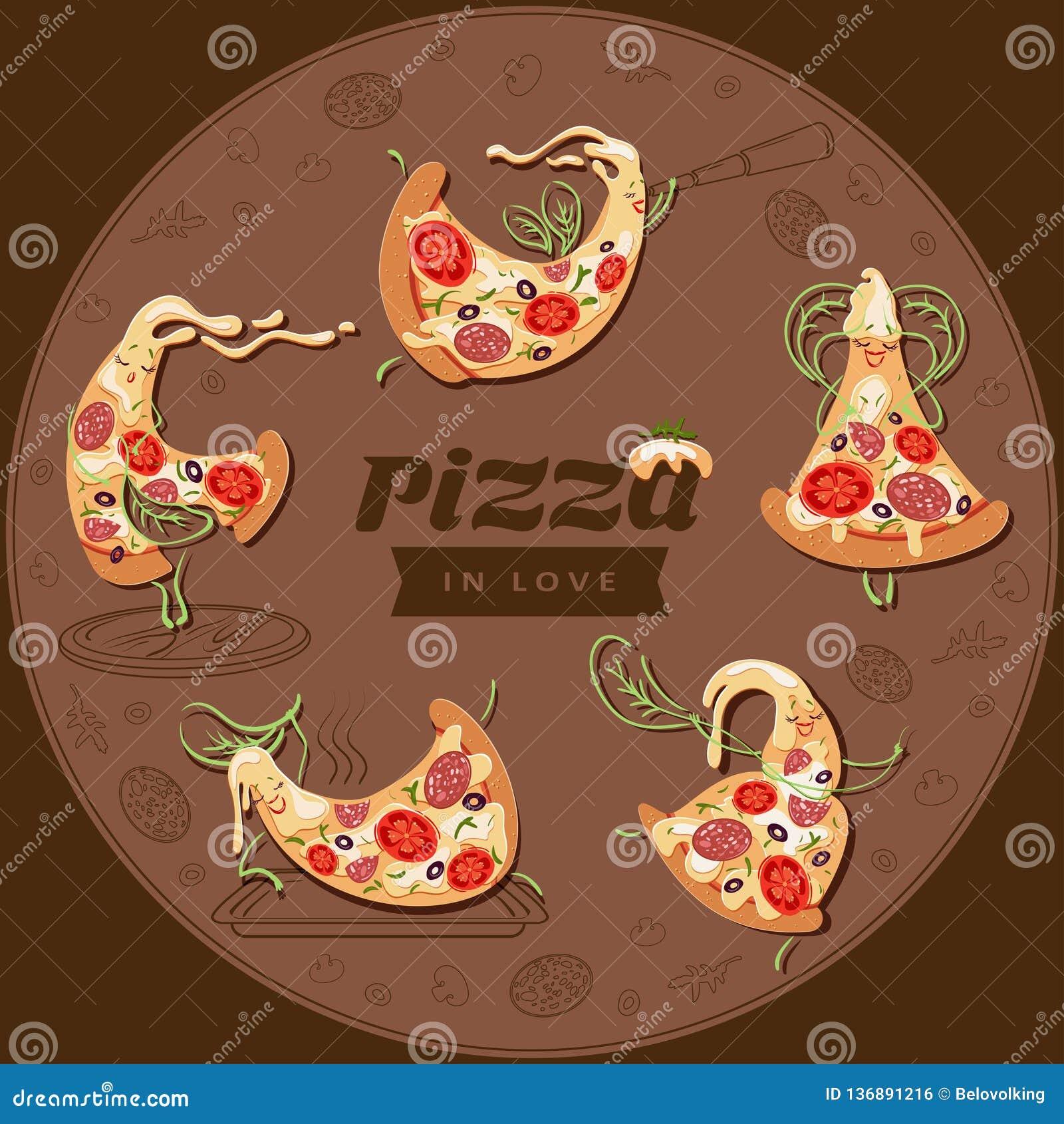 Tranches de caractères de pizza de bande dessinée Placez de cinq pizzas mignonnes d amants