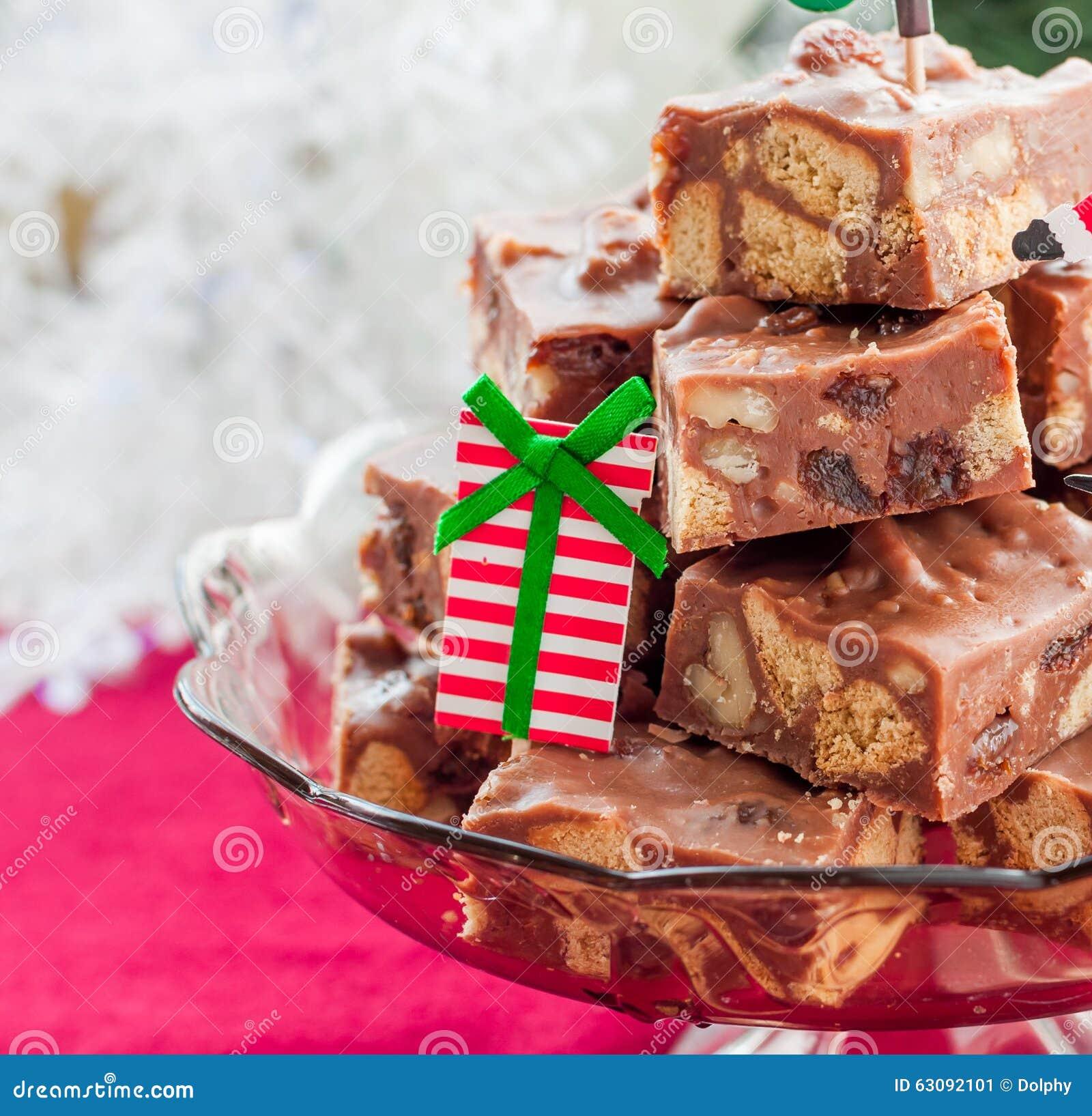 Download Tranches De Fondant De Chocolat De Noël Image stock - Image du condensé, raisin: 63092101