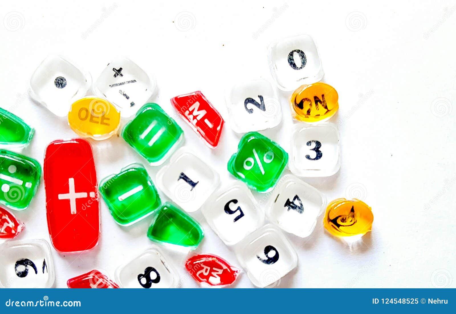 Tranculucent guziki kalkulator z liczbami