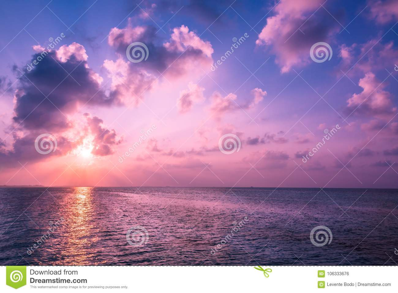 Download Beautiful Tropical Beach Sunset Landscape And Soft Waves Background Horizon With Sky White