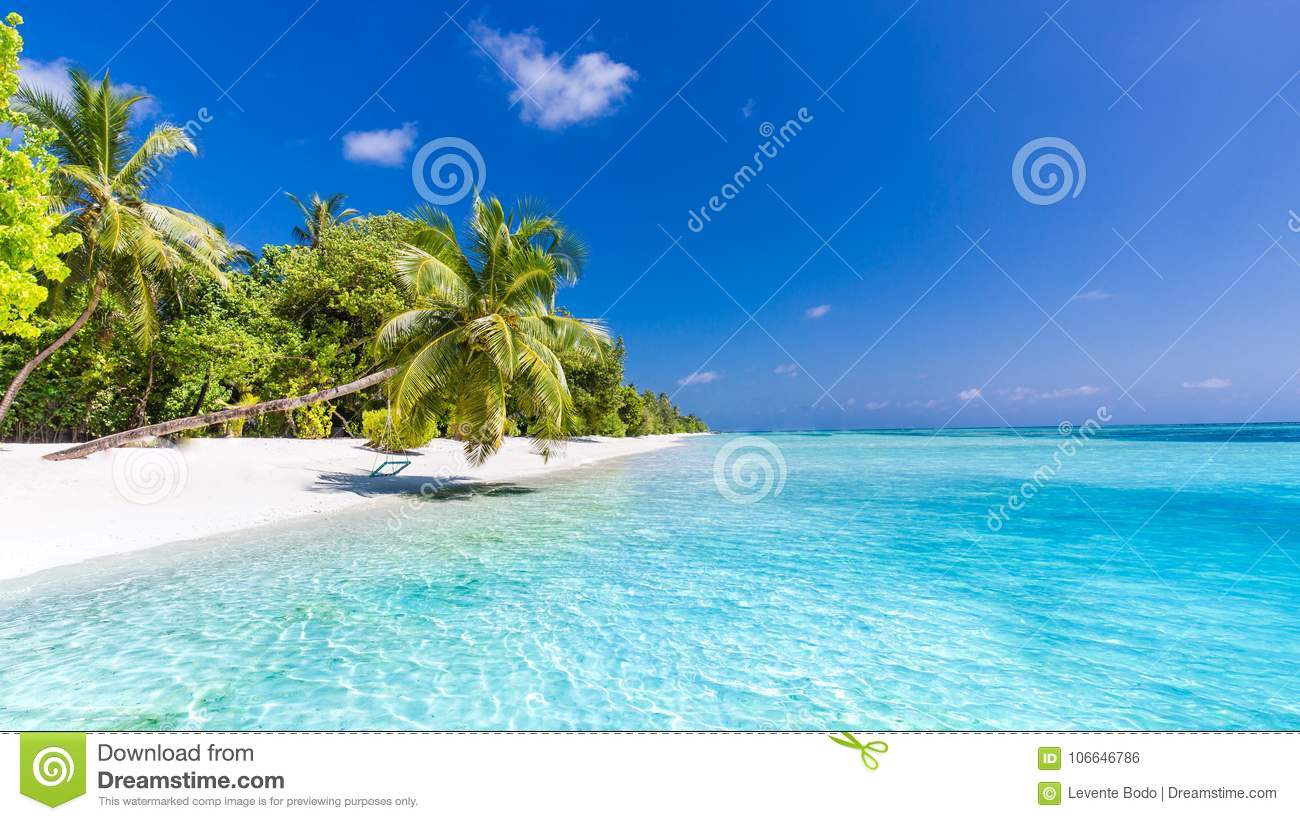 Idyllic Tropical Beach Landscape For Background Or Wallpaper