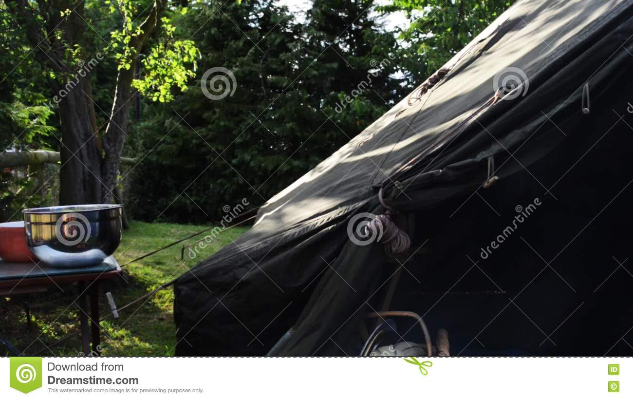 Tranquil C&ing Scene With Sun Through Tree Leaves Green Canvas Tent And C& Kitchen Equipment Stock Footage - Video of summer tree 75294212 : canvas kitchen tent - memphite.com