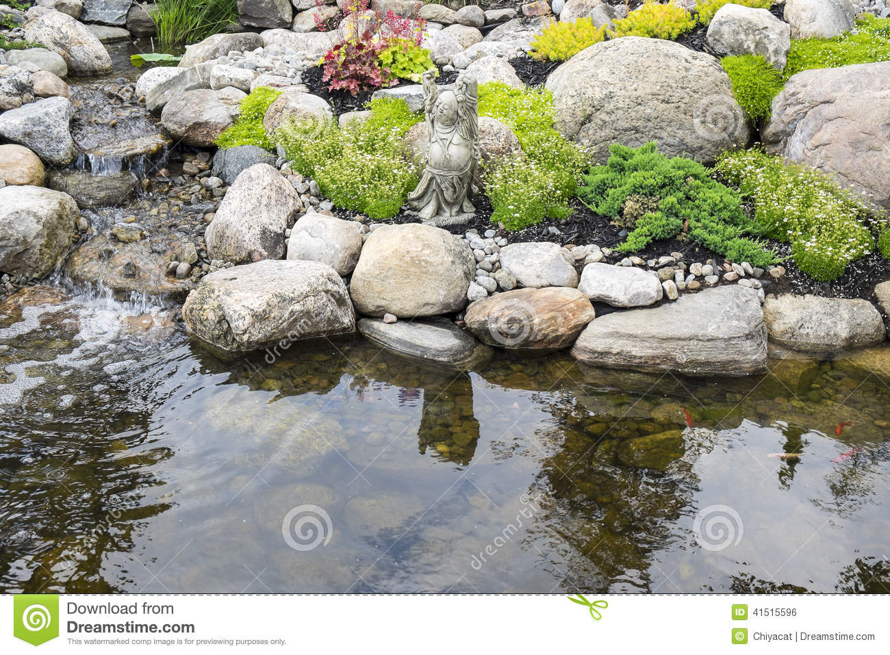 Tranquil garden and pond stock photo image 41515596 for Garden pond unlimited