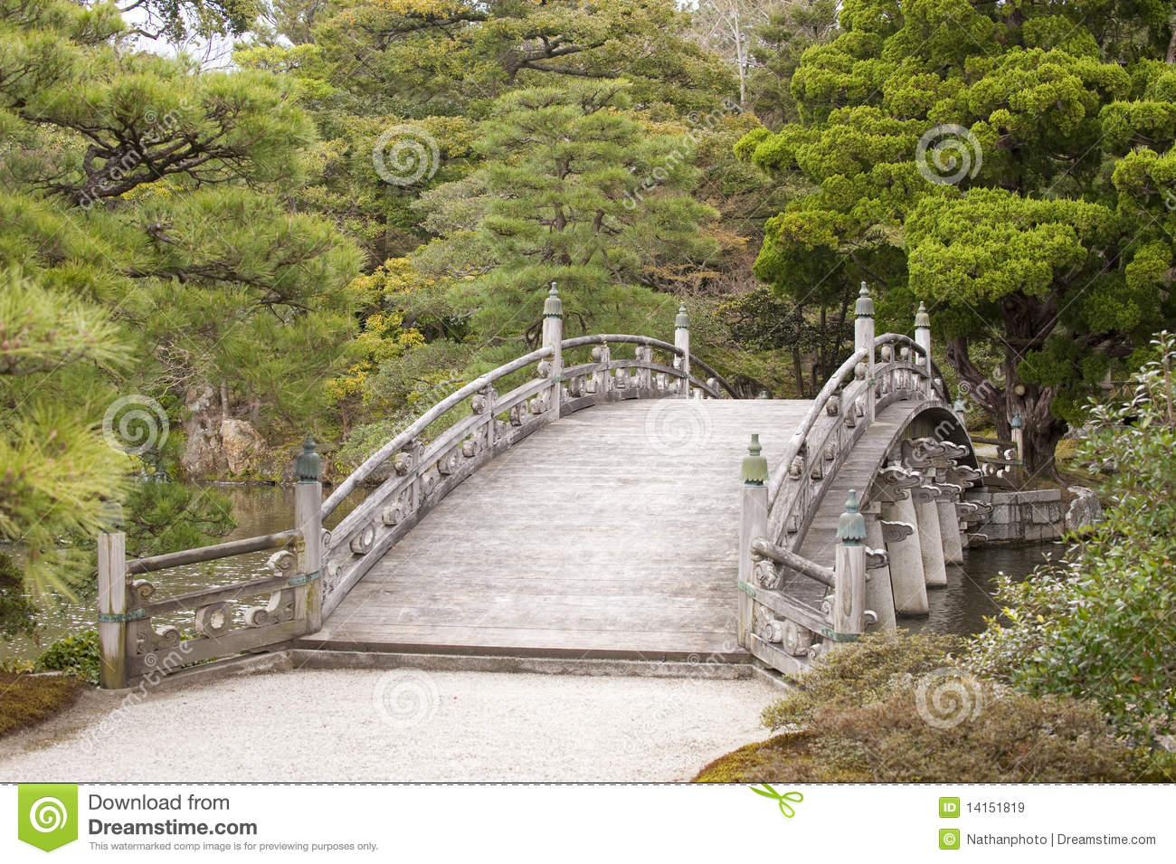 Tranquil japanese style bridge royalty free stock images for Japanese style bridge