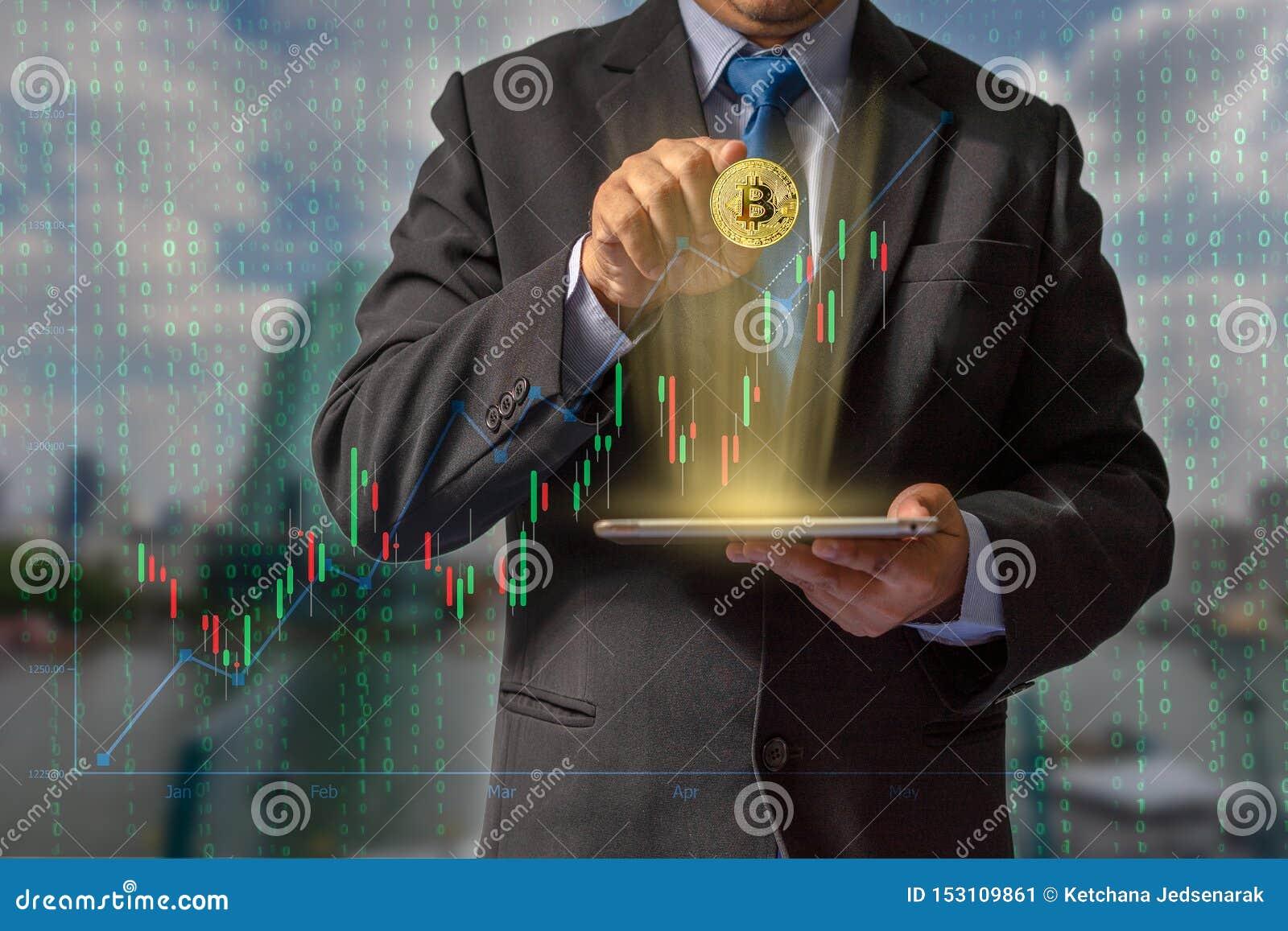 Transactions sur l Internet par le commerce par la technologie de blockchain de devise de bitcoin par des données financières par