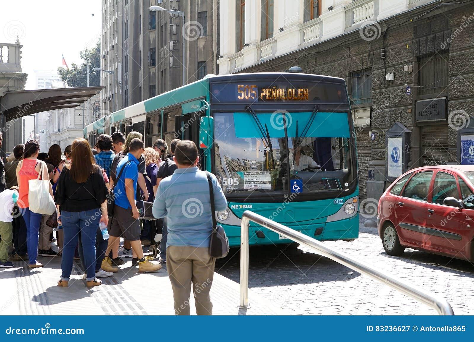 Transantiago Bus In Santiago, Chile Editorial Photography