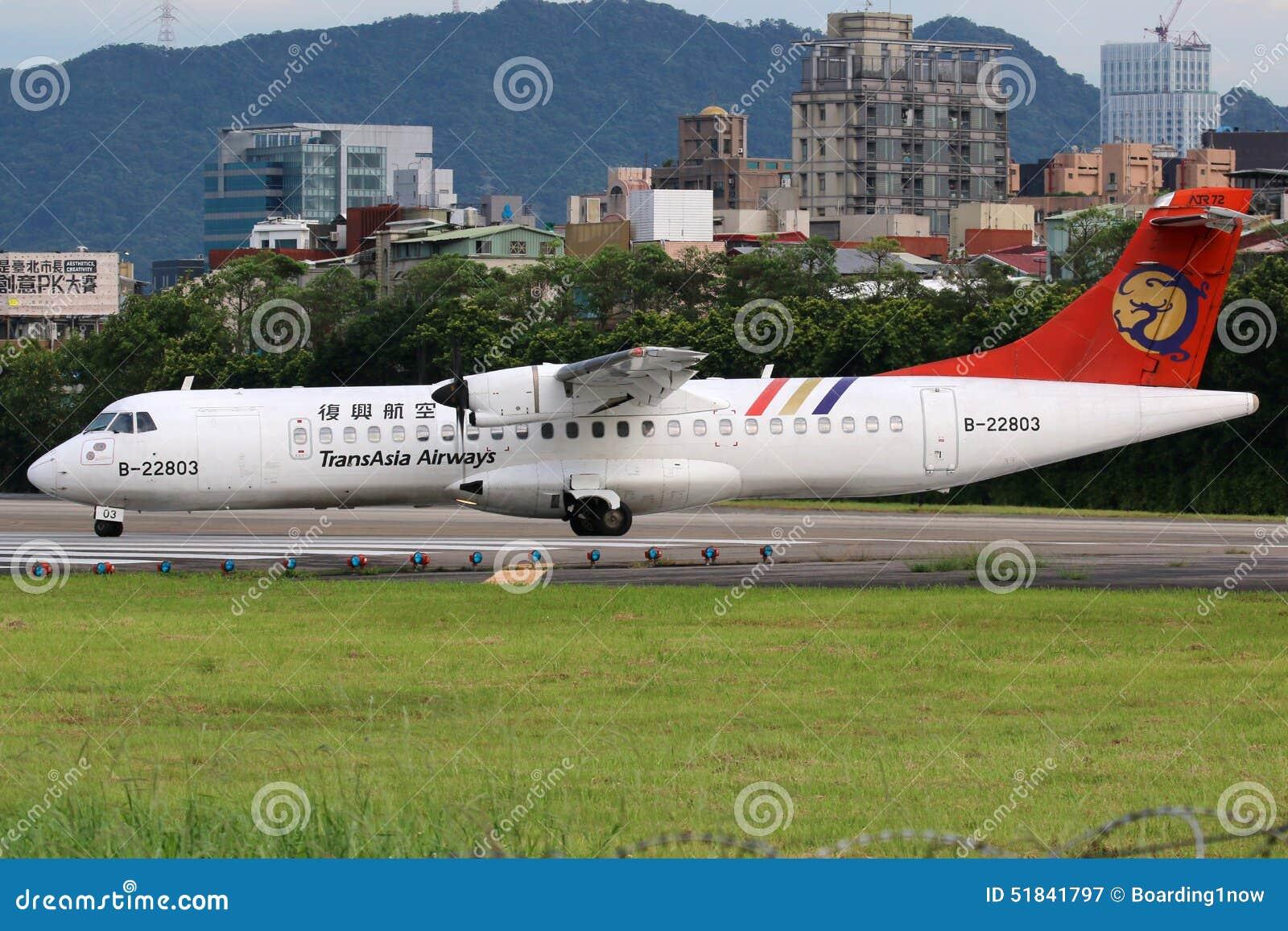 TransAsia Airways ATR 72-500 airplane Taipei Songshan Airport
