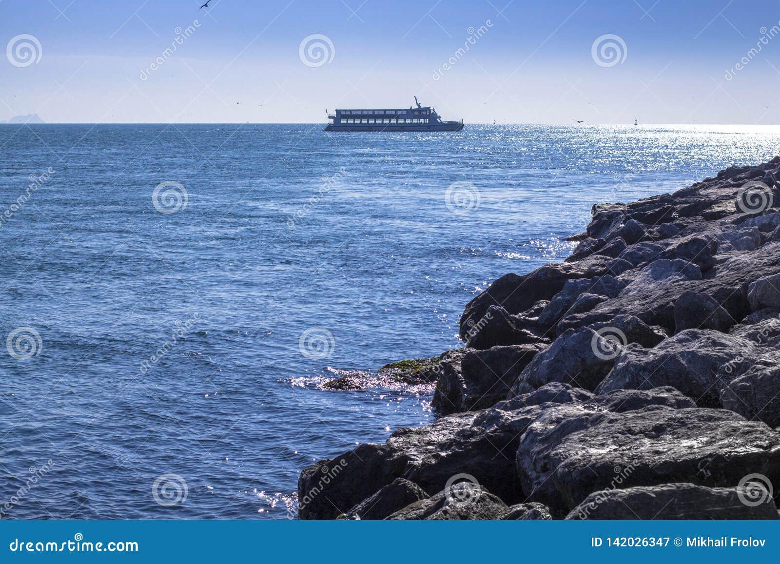 Transbordador en el horizonte en el mar Estambul