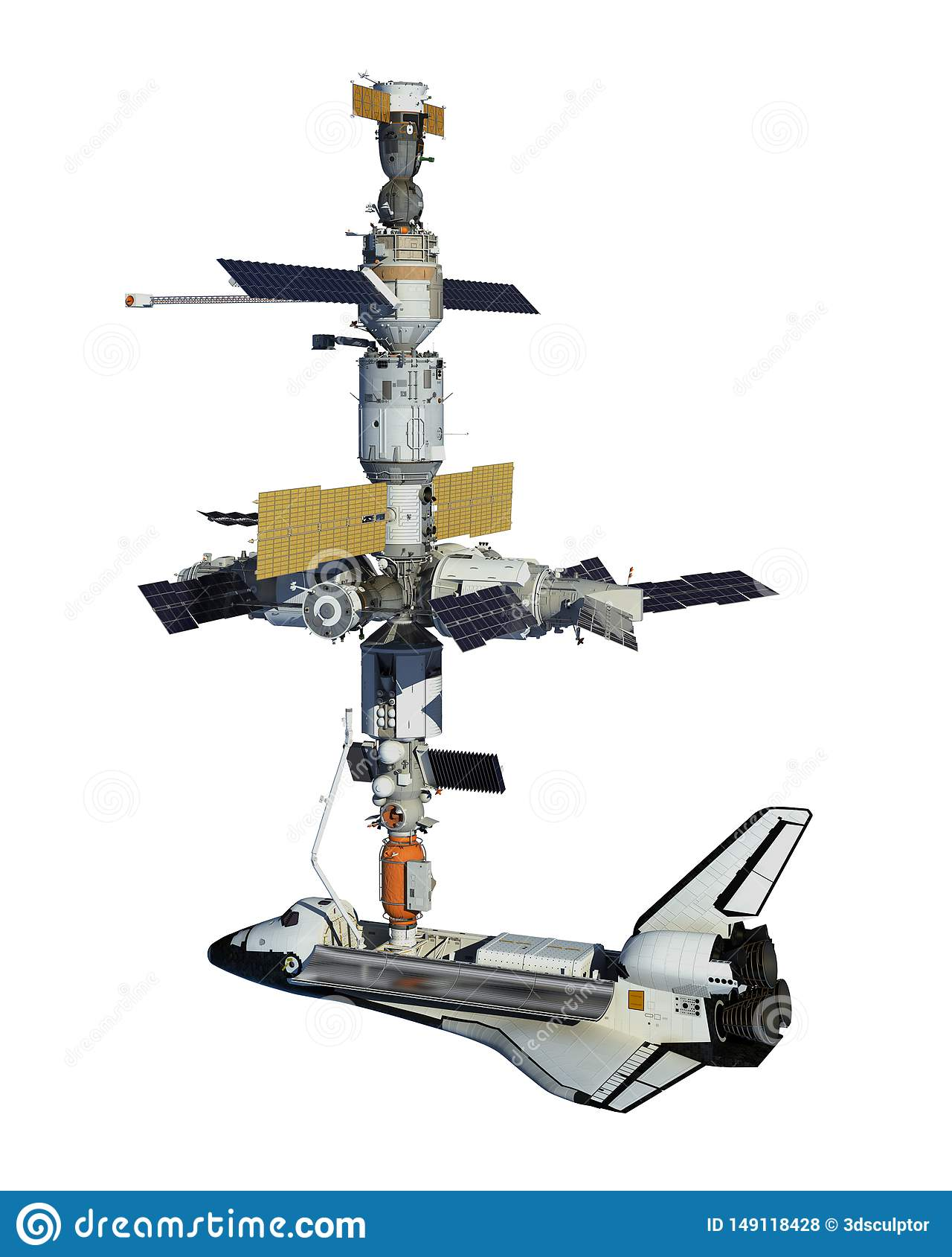Transbordador espacial y estaci?n espacial aislada en el fondo blanco