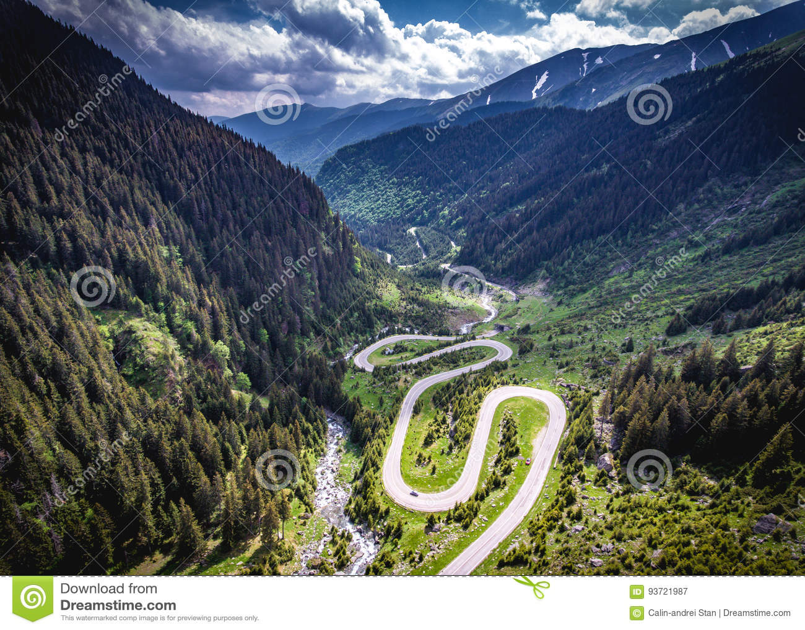 Transfagarasan Romania winding road aerial view HDR image