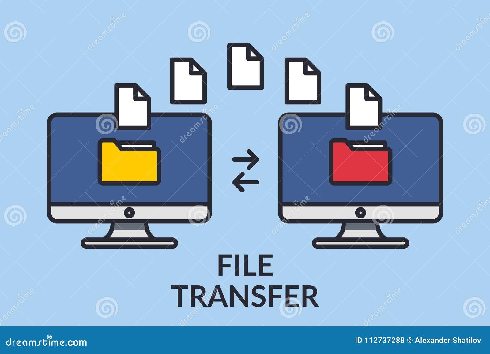 Transferência de arquivo Dois computadores com os dobradores na tela e nos originais enviados Copie arquivos, dados de troca, bac