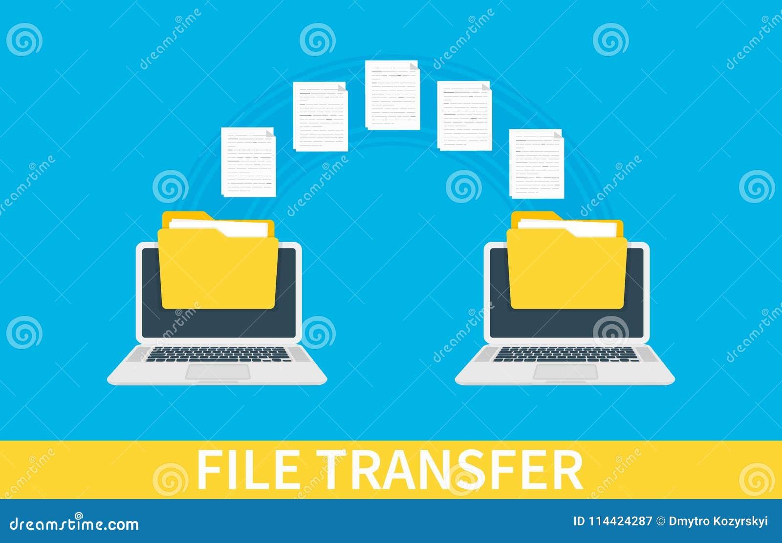 Transferência de arquivo Dois portáteis com os dobradores na tela e em originais transferidos Copie os arquivos, de intercâmbio d