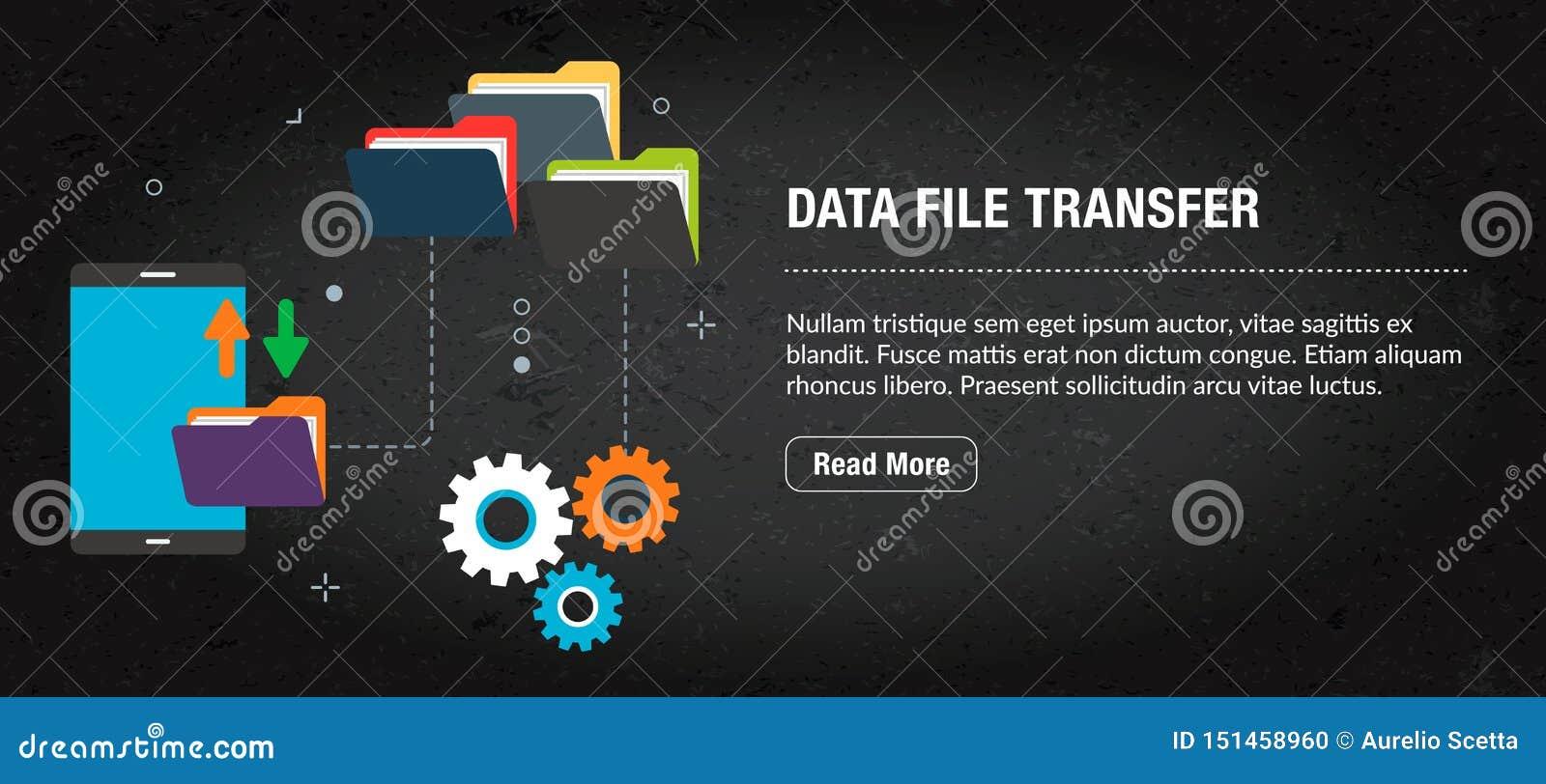 Transferência de arquivos dos dados, Internet da bandeira com ícones no vetor