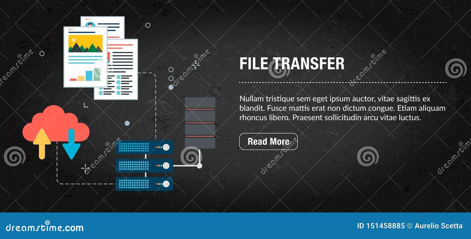 Transferência de arquivos, Internet da bandeira com ícones no vetor