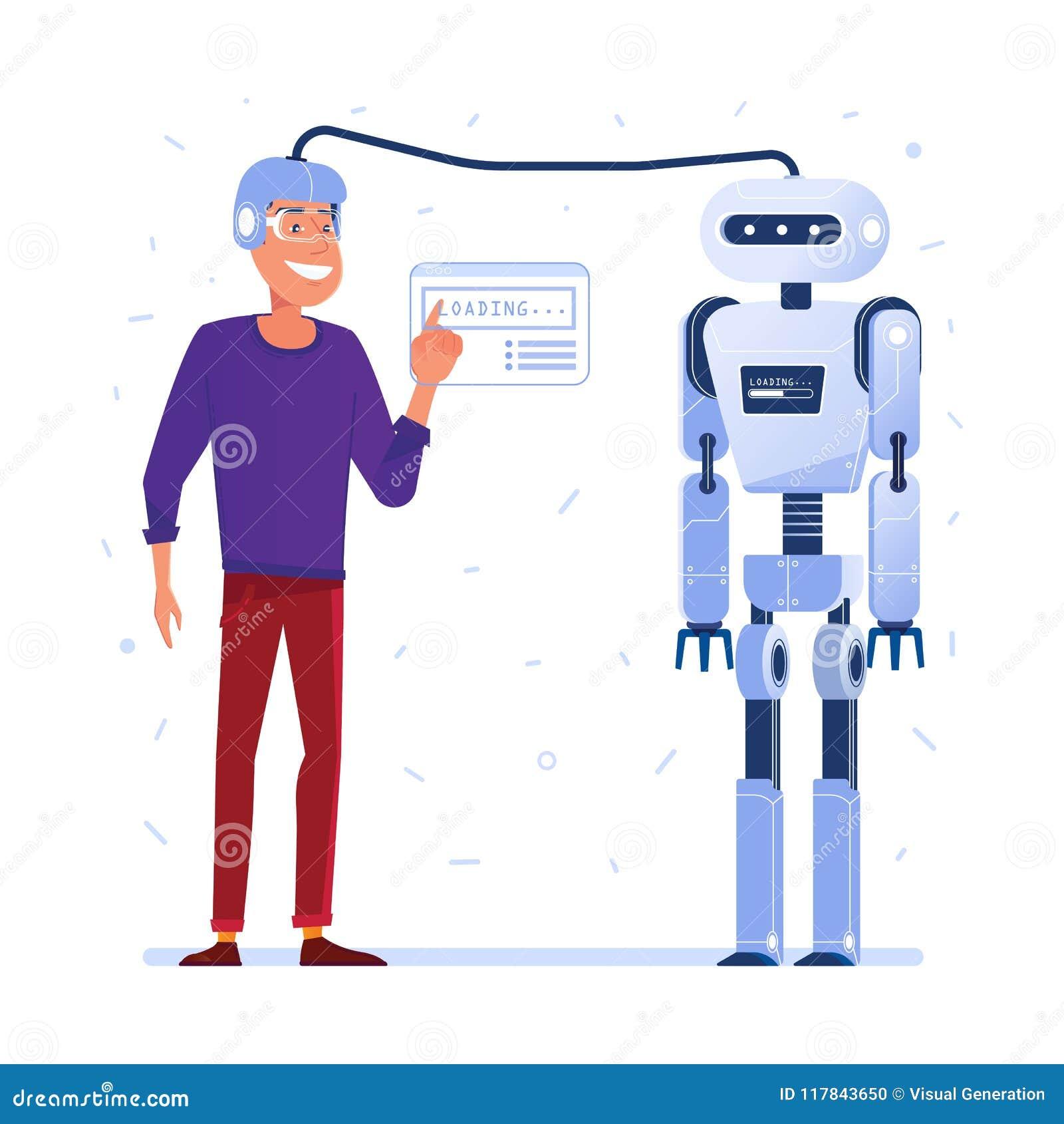 Transferência de dados do cérebro humano ao robô
