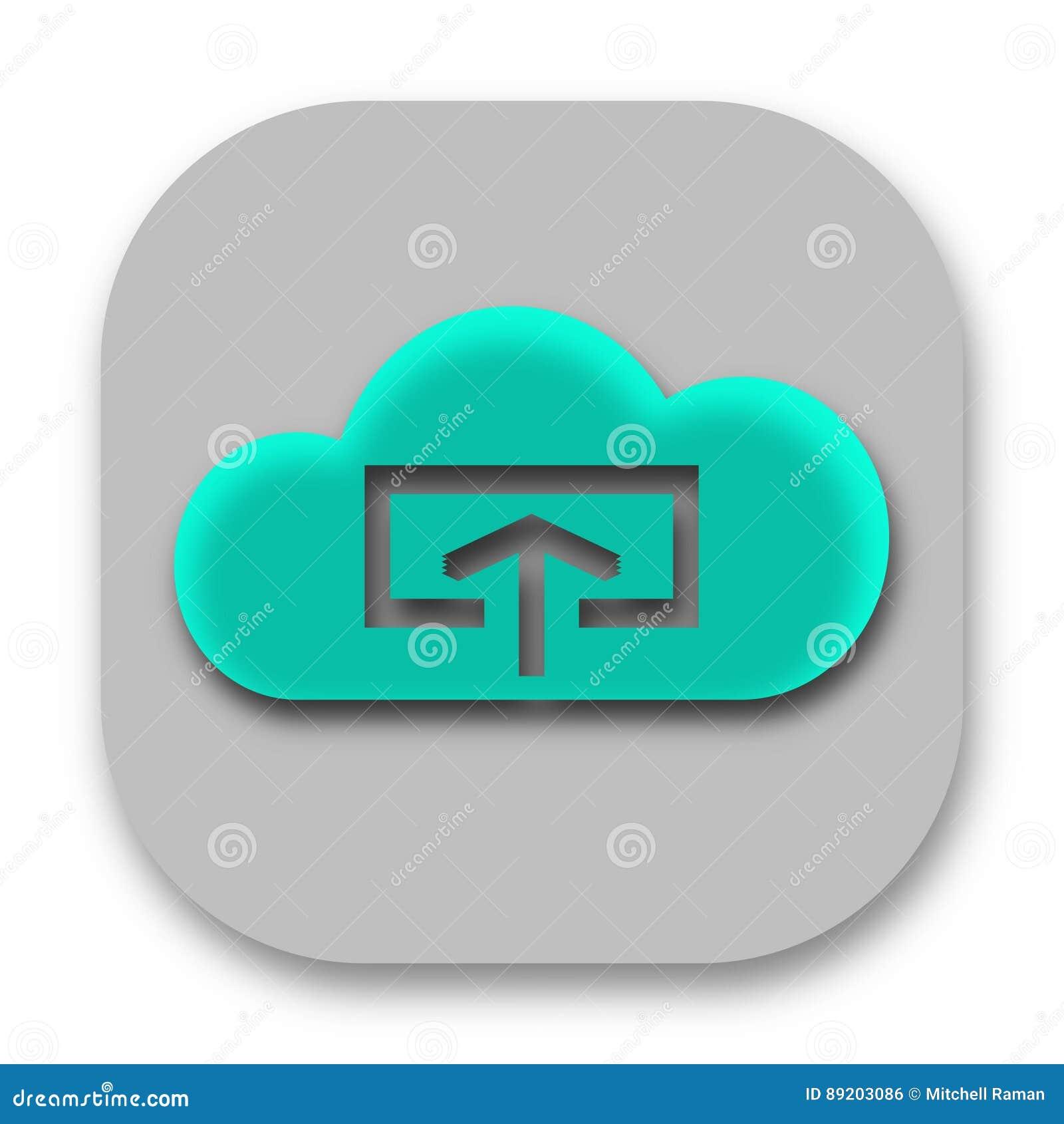 Transferência e transferência de arquivo pela rede ao ícone do App da nuvem