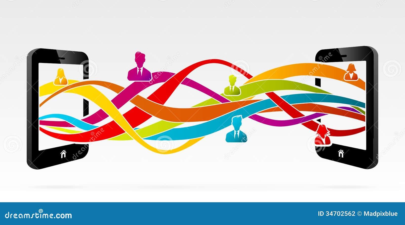 mobile phone information transfer stock vector illustration of