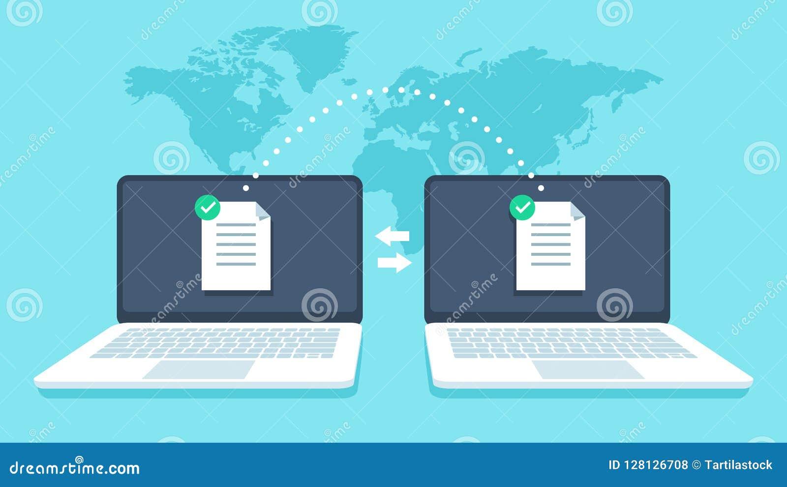 Transfert de fichier de carnets La transmission de données, ftp classe le récepteur et la copie de sauvegarde d ordinateur portab