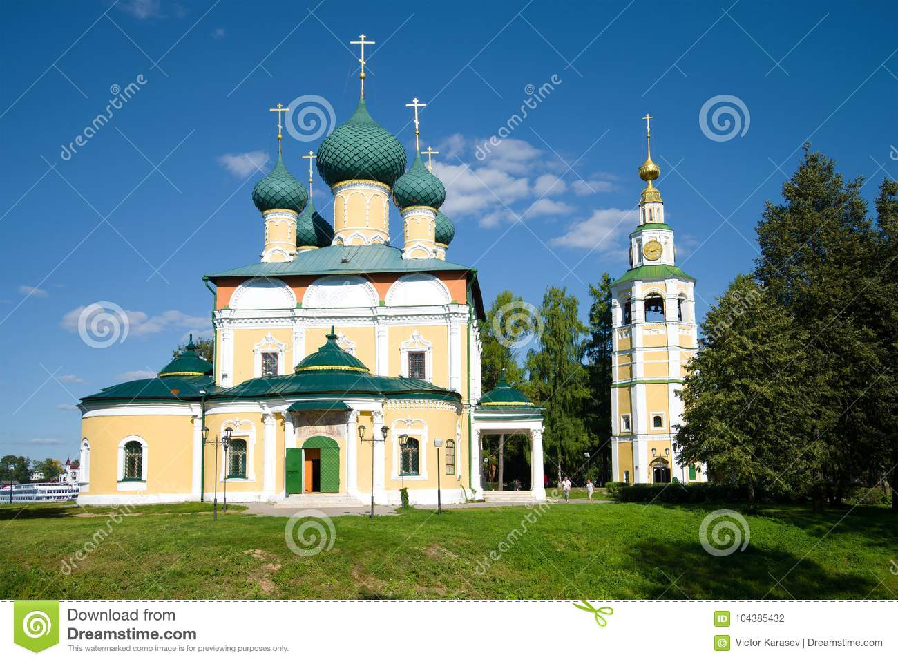 The Transfiguration Cathedral on a sunny August day. Uglich, the Golden Ring of Russia