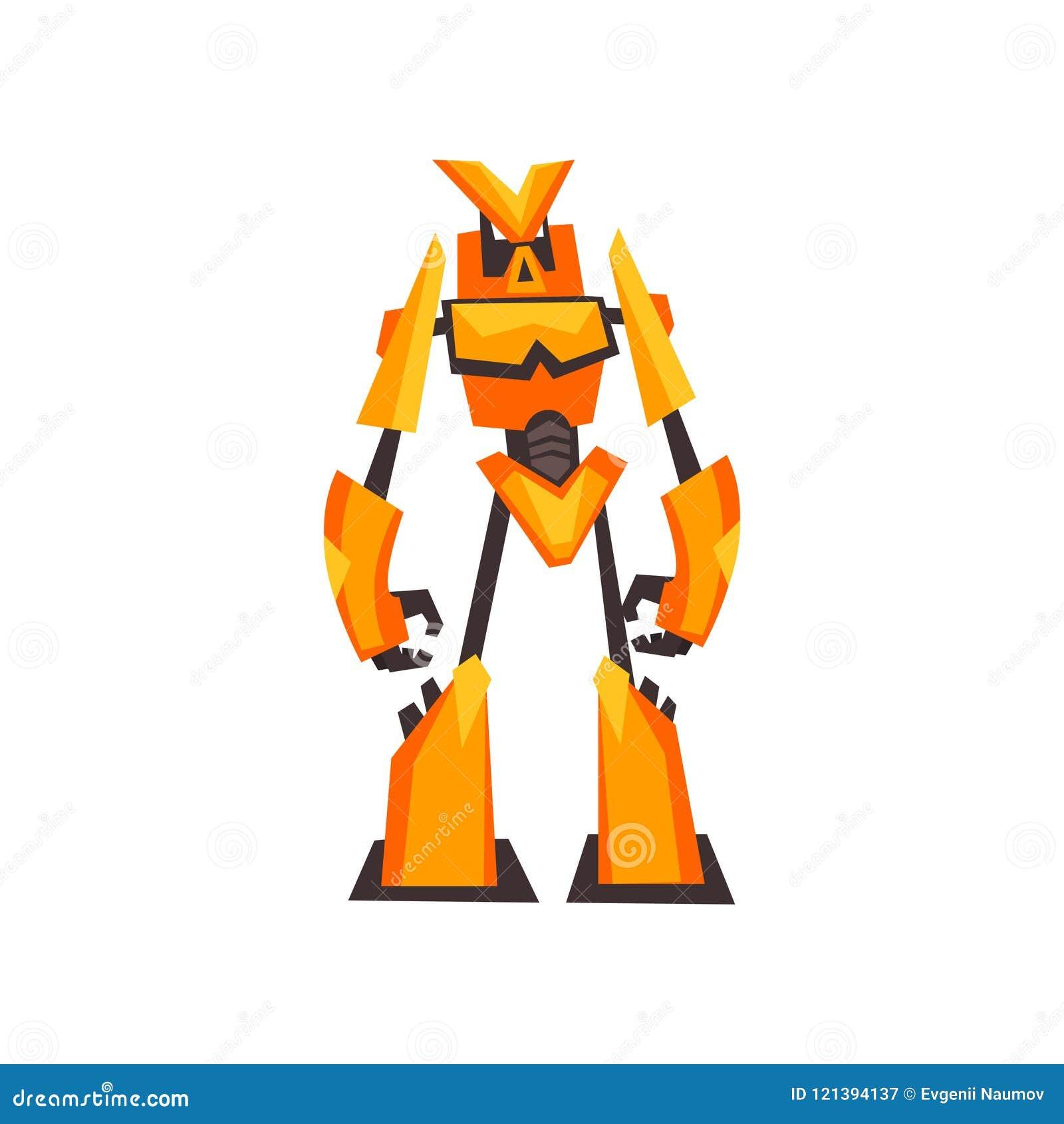 Transformador amarillo-naranja brillante del robot con las manos de la garra Monstruo del metal de la fantasía Diseño plano aisla