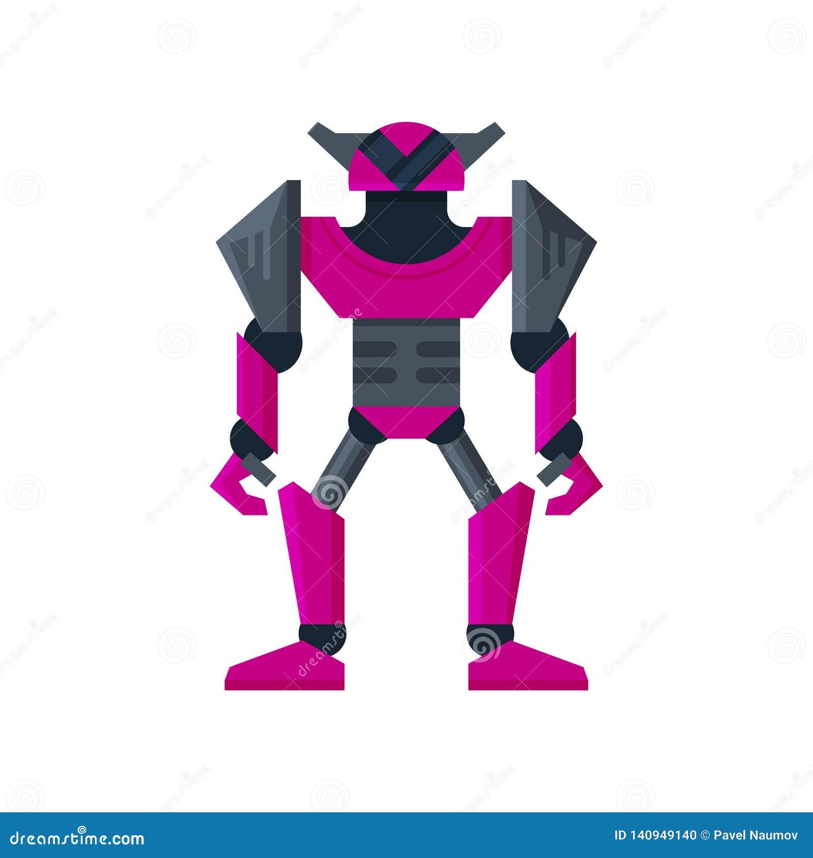 Transformador de aço roxo brilhante do robô Inteligência artificial Androide forte do metal Vetor liso para o jogo móvel