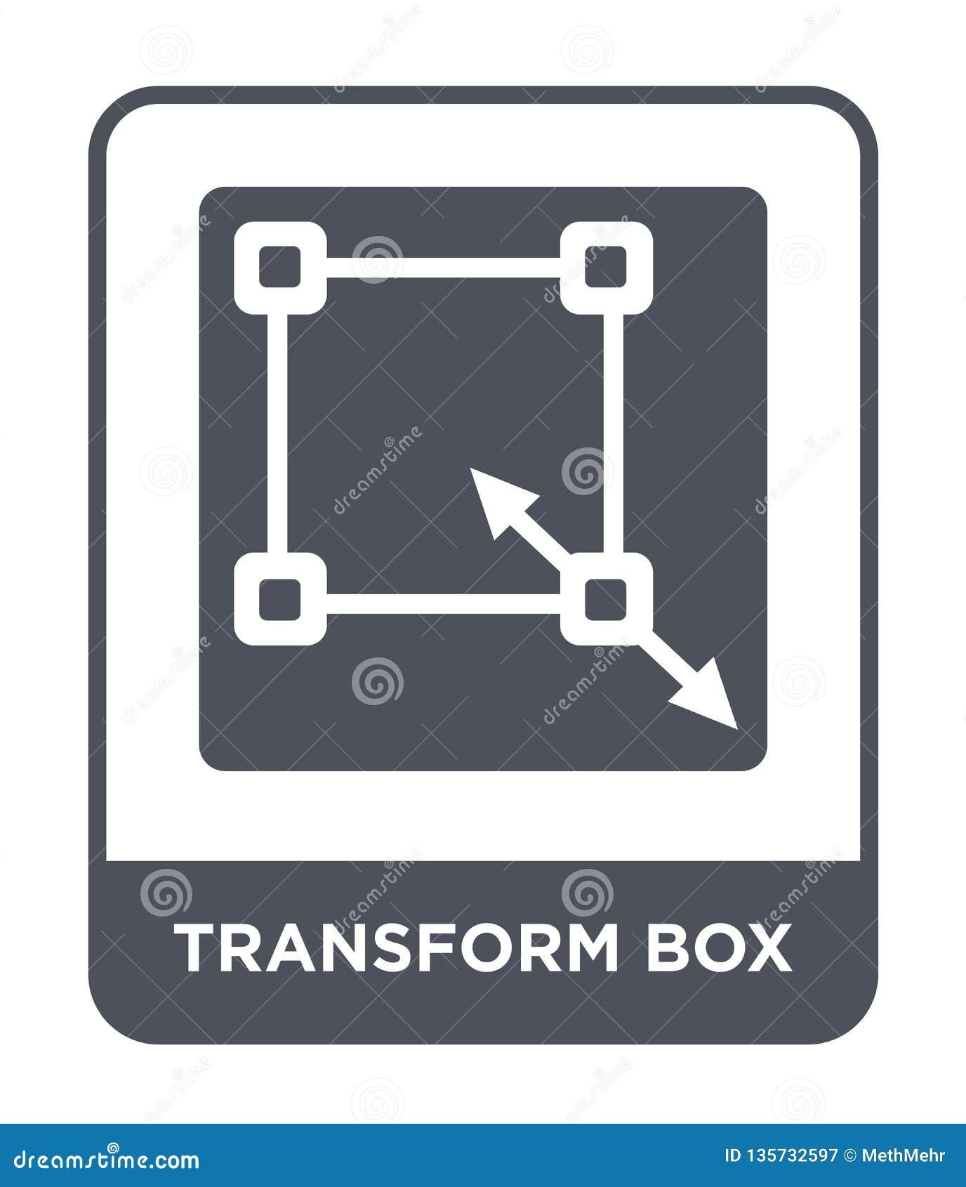 Transforme el icono de la caja en estilo de moda del diseño transforme el icono de la caja aislado en el fondo blanco transforme