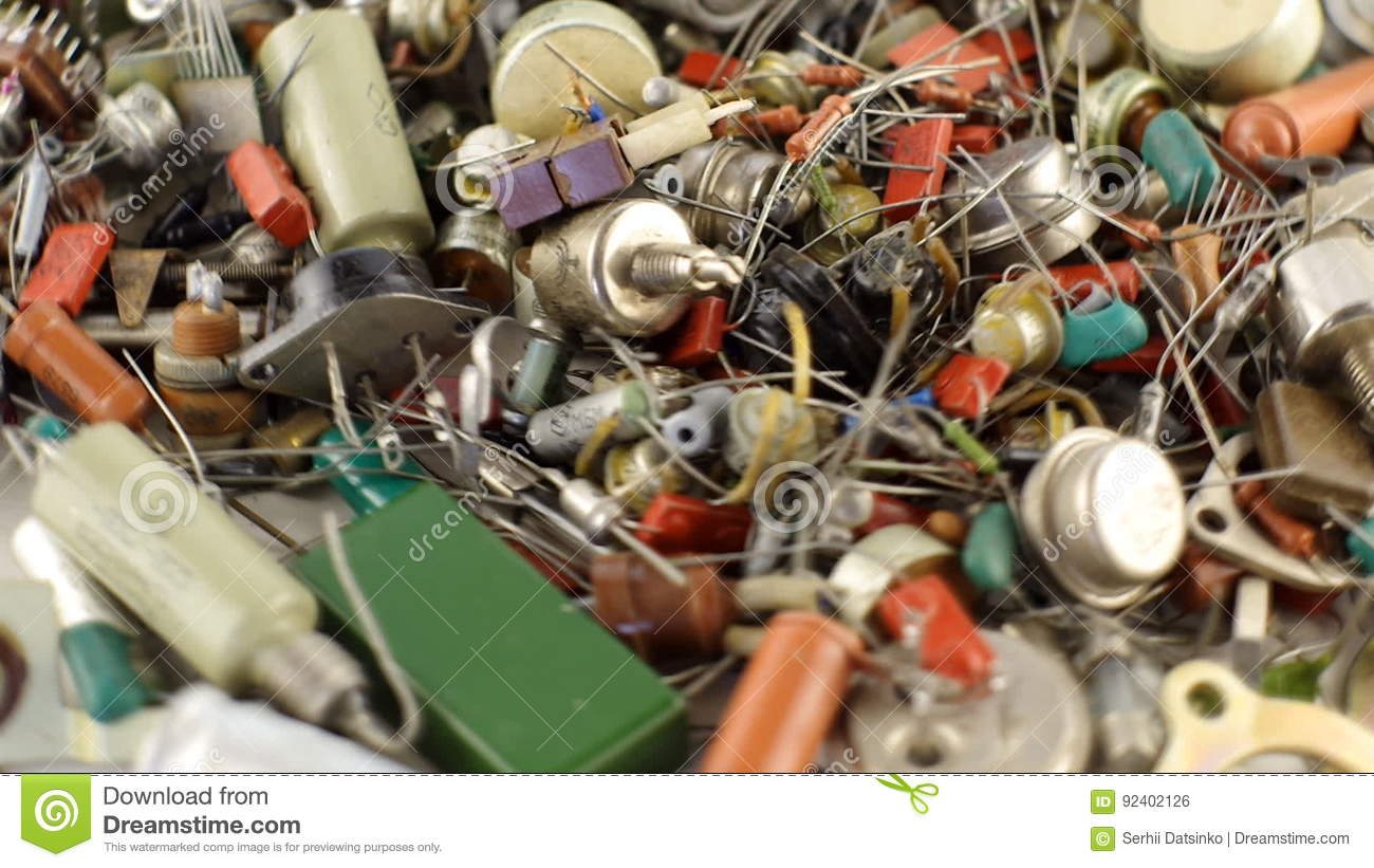 Transistors Resistors And Old Radio Parts Vintage Details Stock Resistor Wiring Footage Video Of Copper Dark 92402126