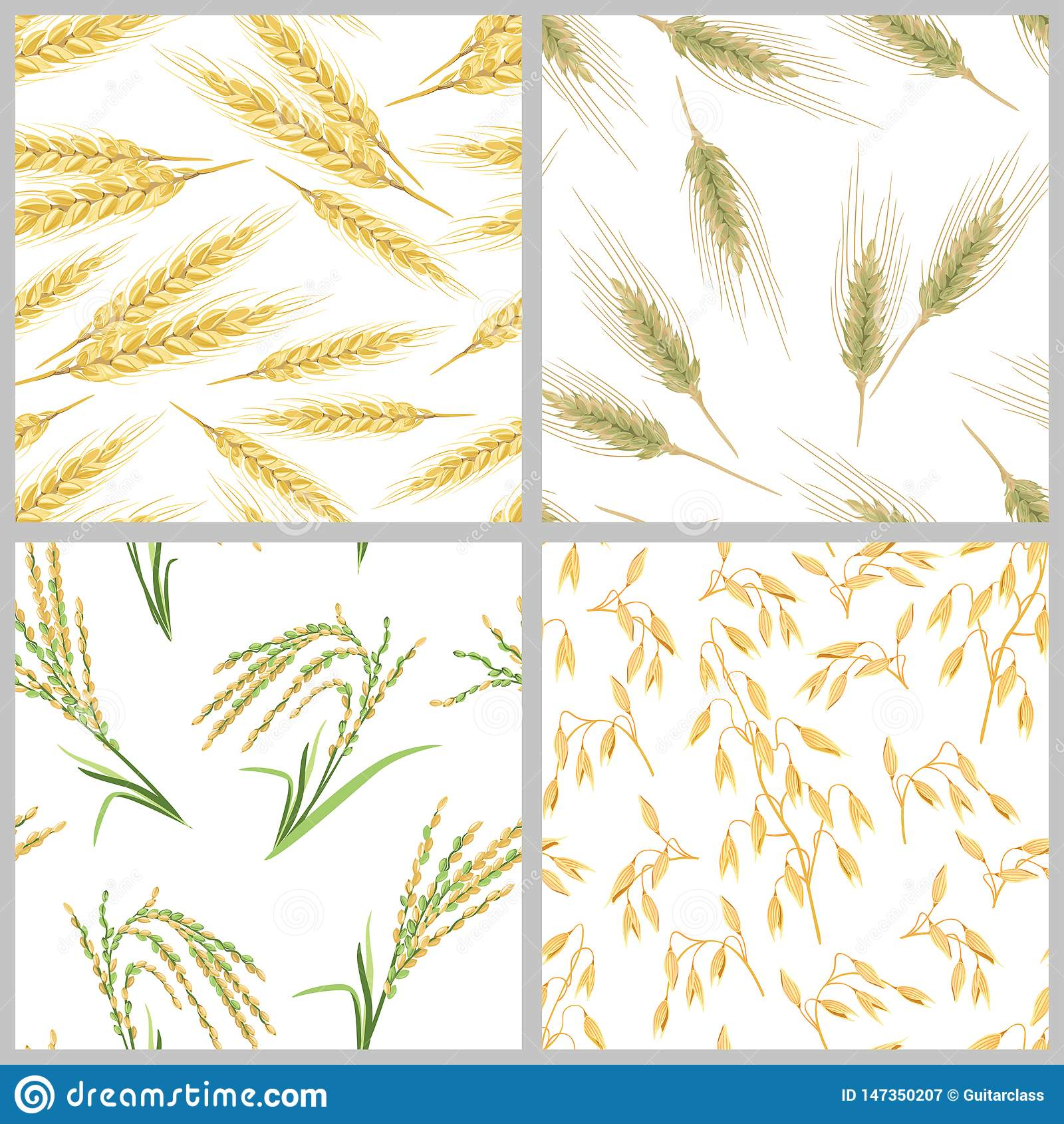 Transitoires de blé, d avoine, de riz et de seigle Placez des modèles sans couture d oreilles de grain