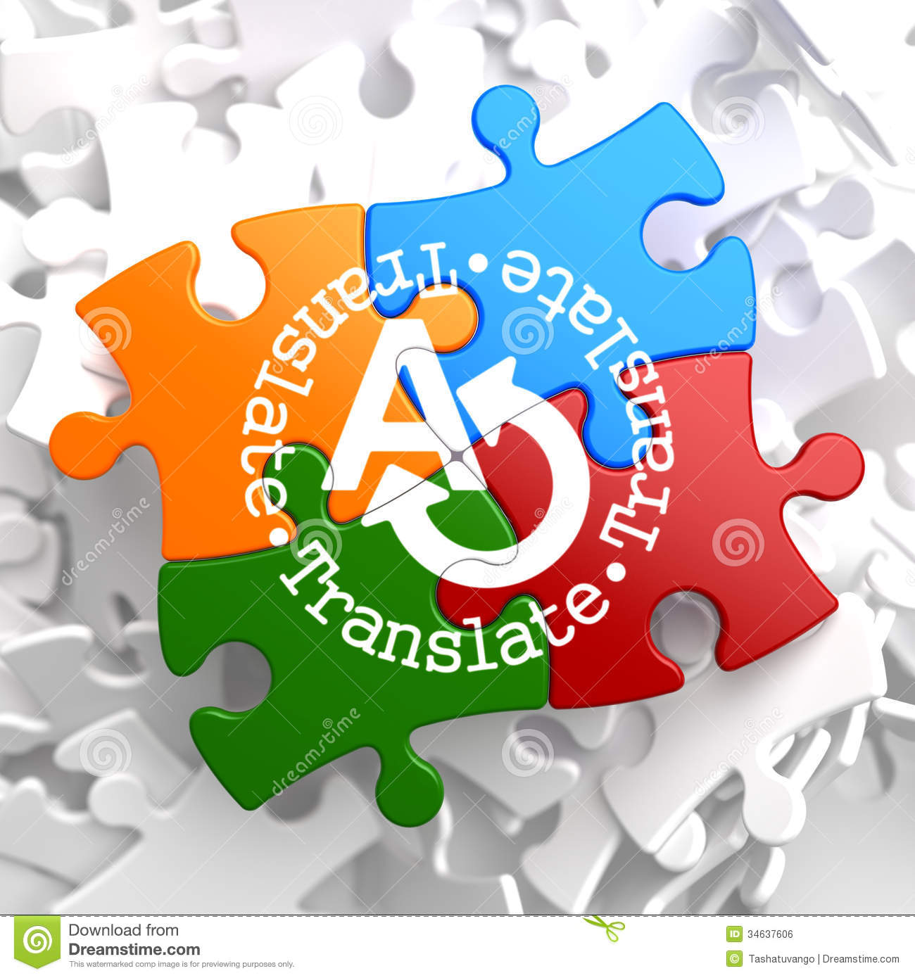 Translate - Translating Concept On Multicolor Puzzle Royalty Free Stock Image