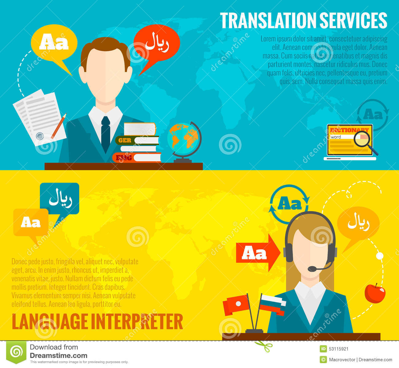 translation and dictionary banners set flat stock vector