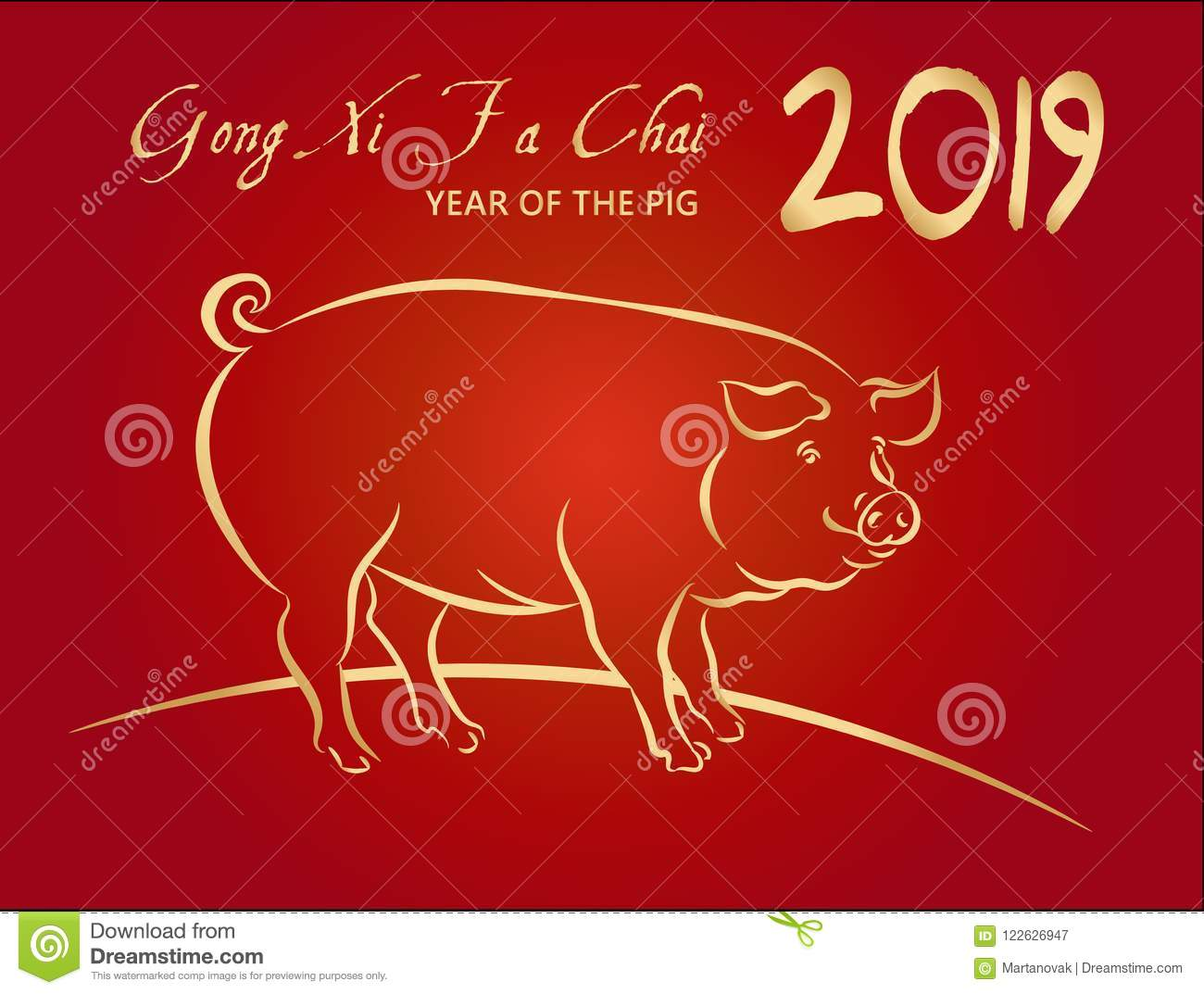 2019 happy chinese new year and year of the pig greeting card with 2019 happy chinese new year and year of the pig greeting card with gold pig zodiac m4hsunfo