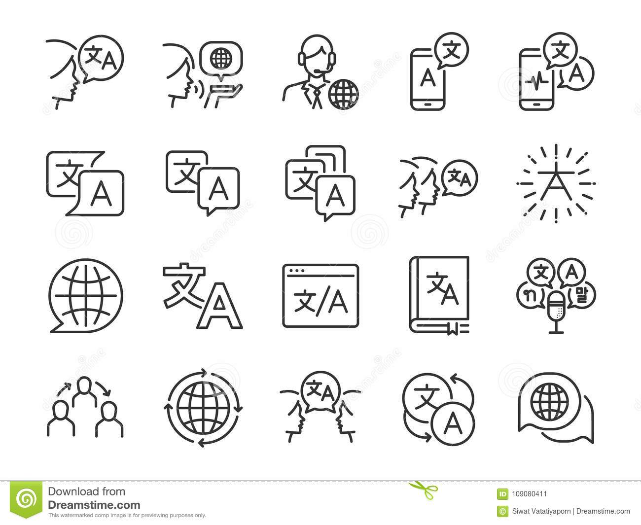 Translation line icon set. Included the icons as translate, translator, language, bilingual, dictionary, communication, bi-racial
