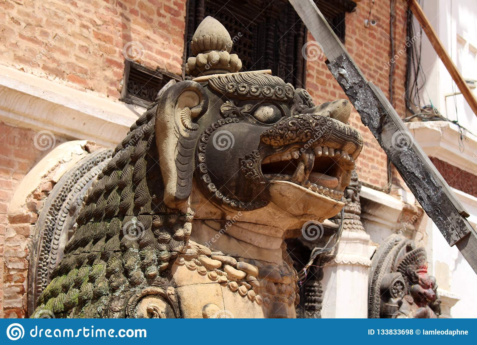 Translation: The lion like statues around Bhaktapur Durbar Square