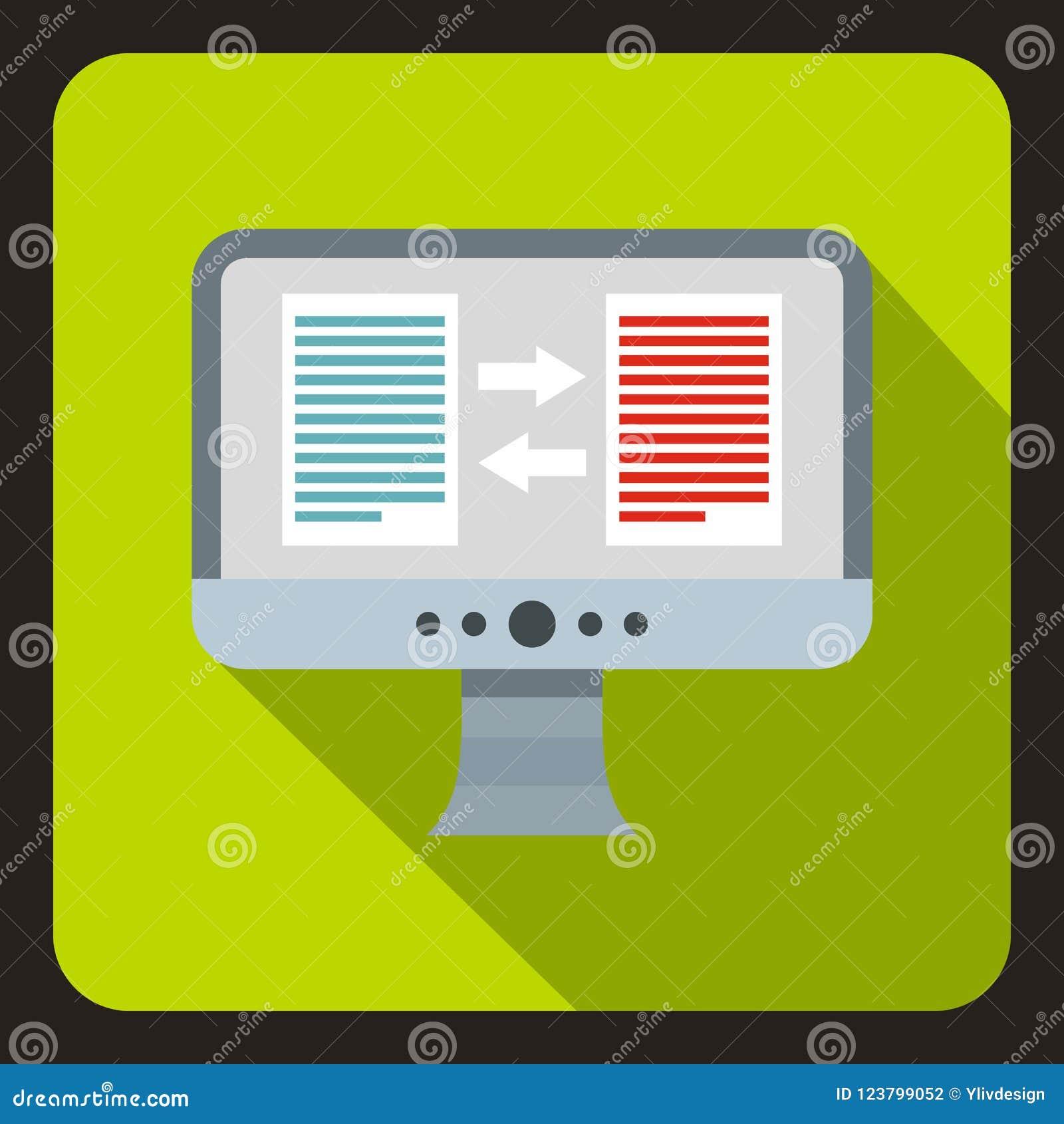 translation of text on computer icon flat style stock illustration