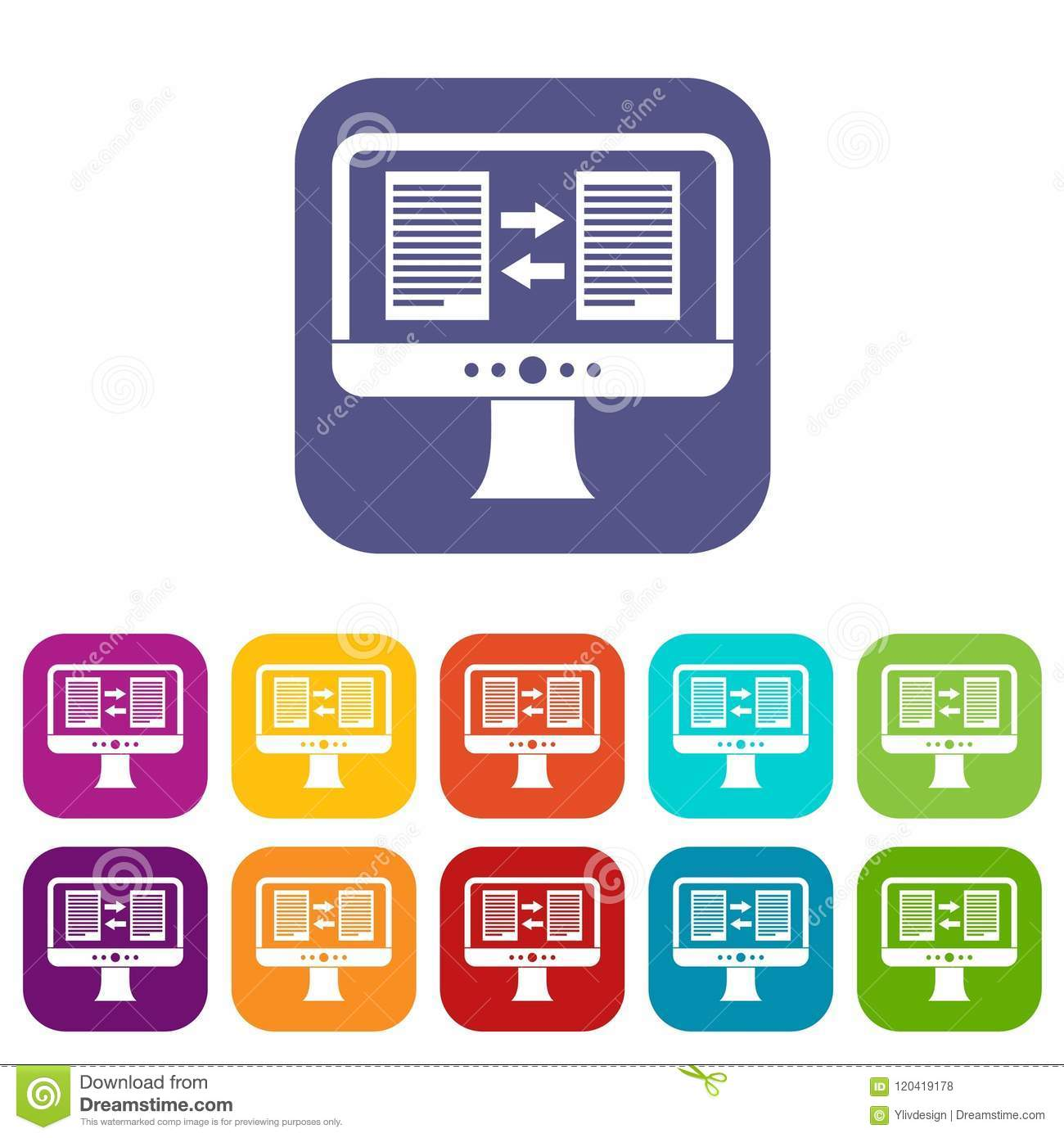 Translator App On The Screen Of Computer Icons Set Stock Vector