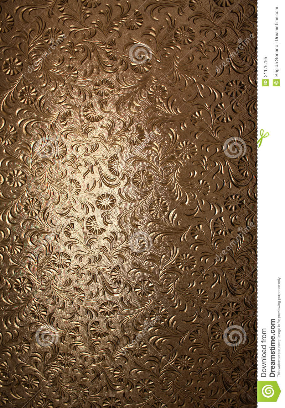 Translucent Brown Glass with Floral Pattern