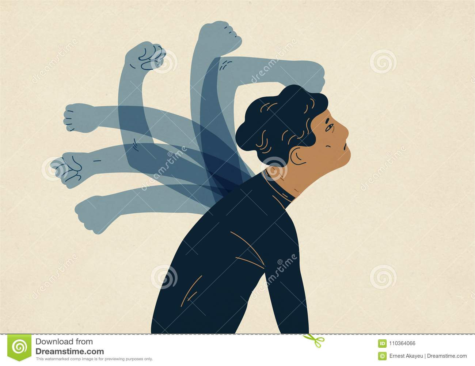 Translucent ghostly hands beating man. Concept of psychological self-flagellation, self-punishment, self-abasement, self